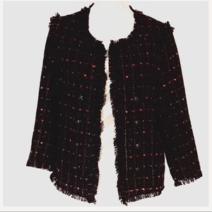 Black and Red Boucle Jacket